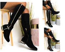 c WOMENS LADIES BUCKLE HIGH THIGH STRETCH OVER THE KNEE LOW FLAT HEEL BOOTS SIZE