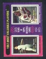 1975 Topps #195 Mickey Mantle/Hank Aaron EXMT/EXMT+ 1957 MVP's 114699