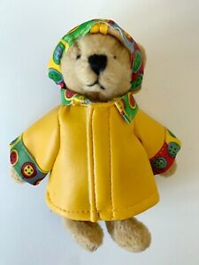 """Vintage Ganz Sunny Bear 5"""" Teddy Jointed Faux Leather Raincoat & Hat 1994"""