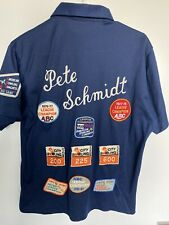 VTG Bowling Shirt 70s Patches Embroidered Blue Polyester King Louie Size M USA