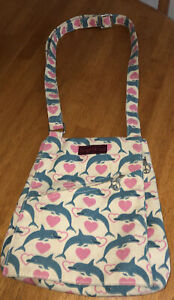BUNGALOW 360 Dolphins Canvas Crossbody Bag/Purse Beige/Pink/Blue