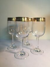 Cristalleria Hand Decorated Blown Crystal Wine Glasses Set of 4 Made In Italy