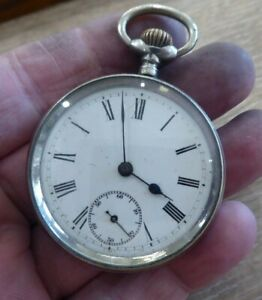 OMEGA  ANTIQUE SOLID SILVER GENTS POCKET WATCH. WORKING