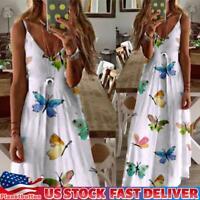 Women Butterfly Print Open Shoulder Dress Summer Spaghetti Strap V Neck Sundress