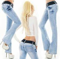 Women's bootcut jeans pants push up denim stretch belt Included light blue 6-14