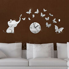 3D DIY Elephant Butterflies Mirror Wall Decal Wall Clock Sticker Art Decoration