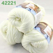 LOT3BallsX50g Smooth Special Thick Worsted Cotton Knitting Yarn Pearl White 2221