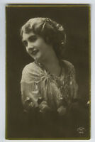 1910s Glamor Glamour YOUNG BEAUTY Lovely Lady photo postcard