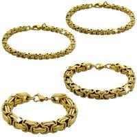 Armband 22cm Königskette Edelstahl Panzerkette Golden Herren Schmuck Armkette