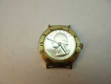 1966 quarter coin dial ROMAN NUMBER BEZEL WINDUP WATCH RUNS TO RESTORE CASE