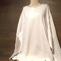 BLAIR WOMENS WHITE  POINTELLE TOP - NEW NWOT SIZE 5X PLUS LONG SLEEVE