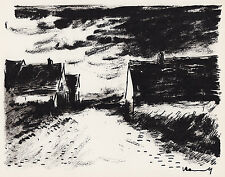 "1958 Original VLAMINCK Limited Lithograph ""Houses in Beauce"" SIGNED FRAMED COA"