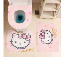 Cute 3Pcs/Set Toilet Seat Cover Bath Mat Embossing Flannel Floor Rugs Cushion