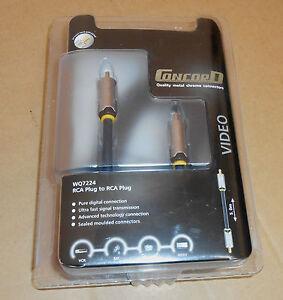 Concord RCA Plug to RCA Plug - 5m Quality metal chrome connectors - NEW