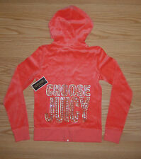 NWT JUICY COUTURE Choose Juicy VELOUR TRACK HOODIE JACKET XL Winter Coral