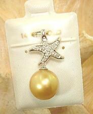 Hawaiian 14k White Gold Starfish 10.9mm FW Golden Pearl 0.07Cts Diamond Pendant