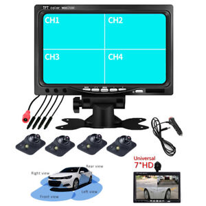 7INCH 4CH Pic Car Dash HD Monitor Cam Kit +360° Front/Left/Right Rearview Camera
