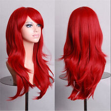 Women Sexy Long Red Curly Synthetic Hair Heat Resistant Cosplay Party Full Wigs