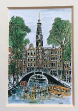 LEIDEN, NETHERLANDS; CANAL scene; signed reproduction; UNUSED *bl3