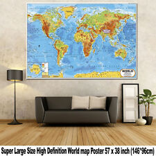 Huge Large PVC World Map Poster Global Education Poster Home Office Wall Decor