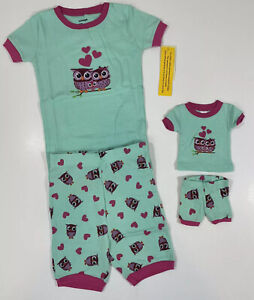 Leveret Owl Girls Shorts and T Shirt Pajamas with Matching Doll Set Size 6 Years