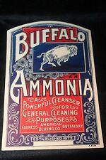 "Vintage Buffalo Ammonia Cleanser Label ""Old Store Stock"" Unused Buffalo, NY"