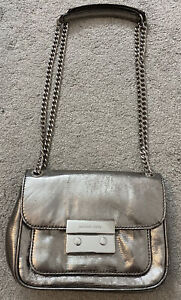 Authentic Michael Kors Small Silver Leather Chain Link Shoulder Bag