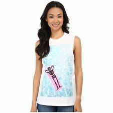 Converse women's T Shirt Top Graphic Sleeveless Skeleton White Blue XS NEW