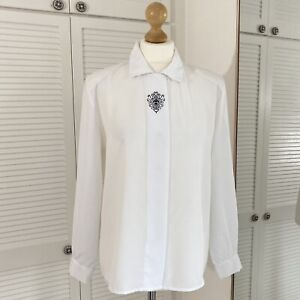Sag Harbor White Blouse Size 14 Vintage Collared Pleat Front Formal Embroidered