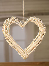 4 x Hearts Wicker Hanging Woven Ornament Rustic Provincial Home Decor 30cms NEW