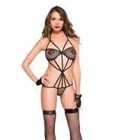 Strappy Fishnet Teddy - Music Legs 80018
