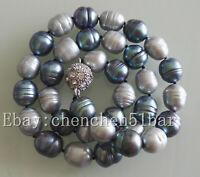 10-11mm grau schwarz Reis Barock Süßwasser Perlenkette 18 Zoll Magnetverschluss