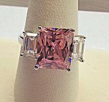 BIG & HEAVY!! Ladies 14k White Gold Pink & White Zirconia Ring. Size 8 1/4