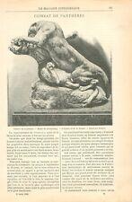 Combat de Panthères Sculpture de Georges Gardet Musée du Luxembourg GRAVURE 1898