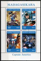 Madagascar 2019 CTO Captain America 4v M/S Comics Marvel Superheroes Stamps