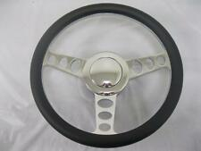"""14"""" Outlaw Style Chrome Alum Leather Wrap Steering Wheel Kit GM Adapter & Button"""