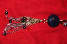 Modeschmuck dekorative Kette schwarz silbern mit Glasperlen