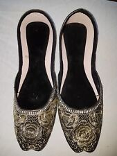 NEW black/gold embroidered womens Indian khussa slippers size 5