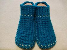 Women's Knitted Cozy Blue Slippers Handmade Shoes