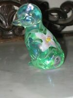 2000 FENTON ART GLASS HP WILLOW GREEN IRIDIZED  DUCKLING/DUCK ANIMAL FIGURINE