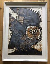 Large Vintage Retro Owl Silkscreen Print Unknown Artist Sheridan Knowles Exhibit