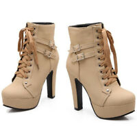 Fashion Women Lady Round Toe Lace Up Platform High Heels Martin Ankle Boots Size