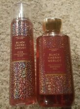 Bath and Body works BLACK CHERRY MERLOT Body WASH & Fragrance MIST spray *SET*