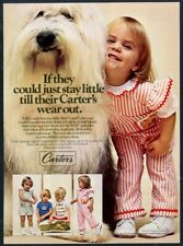 1977 Old English Sheepdog little girl photo Carter's clothes vintage print ad