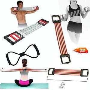 Port Chest Expander Puller Stretcher 5 Tubes Rubber Band Gym Exercise Adjustable