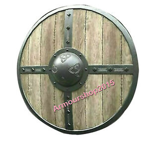 Vikings Armor Round Wooden Medieval Natural Shield Renaissance Shield