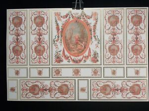 1:12 Casa De Muñecas Papel Tapiz Papel a Rayas Fishbone Hoja De Oro Papel x2