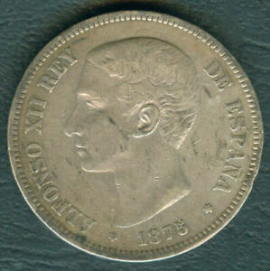 1875 Spain ALFONSO XII 5 pesetas Crown Size Silver Coin #A2