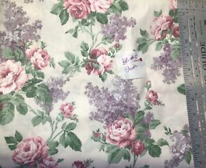 Vintage Pink Roses Polished Cotton Chintz Fabric Cottagecore By the Yard