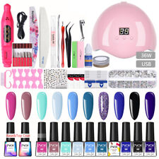PVOY 31pcs/Set Nail UV Gel Polish Soak Off Nail Dryer Lamp Nail Art Starter Kit